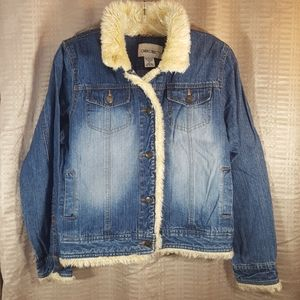 Cherokee fur-lined denim jean jacket coat XL